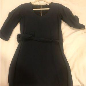 DVF Navy Blue Mini Dress Split 3/4 Sleeve w/belt